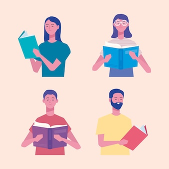 Группа читателей, читающих книги персонажей иллюстрации дизайн