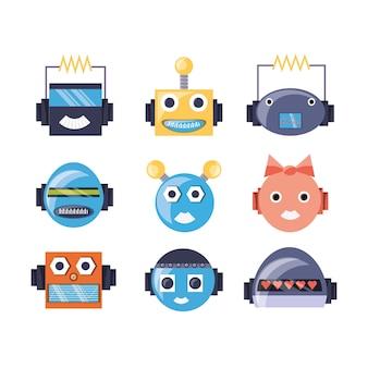 로봇 만화 얼굴의 그룹