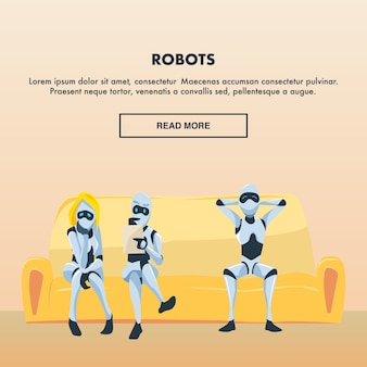 ロボット従業員のグループが快適なソファに座る