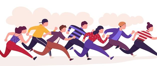 달리는 사람들, 다채로운 주자 남자와 여자의 그룹. 계절 판매, 로열티 프로그램 추구. 서로 스포츠 경쟁입니다.