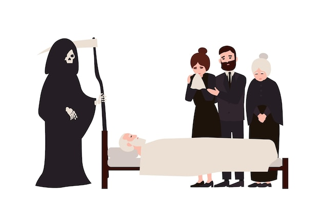 애도 옷을 입은 슬픈 사람들과 낫을 들고 죽은 사람 옆에 서 있는 죽음의 신. 사망한 가족 구성원 근처에서 울고 있는 슬퍼하는 친척. 플랫 만화 벡터 일러스트 레이 션.