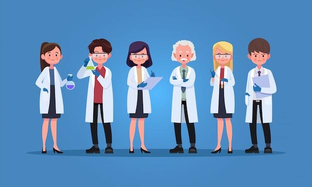 手袋とガウン、イラスト漫画のキャラクターを持つ科学者のグループ。