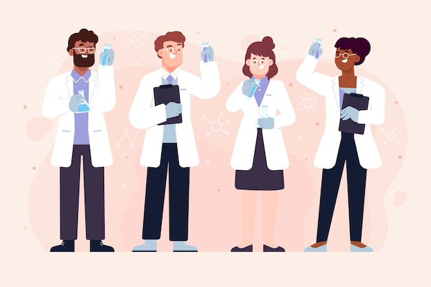 튜브를 들고 과학자 노동자의 그룹