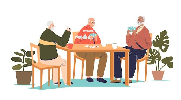 테이블과 카드 놀이 그림에 함께 앉아 수석 남자의 그룹