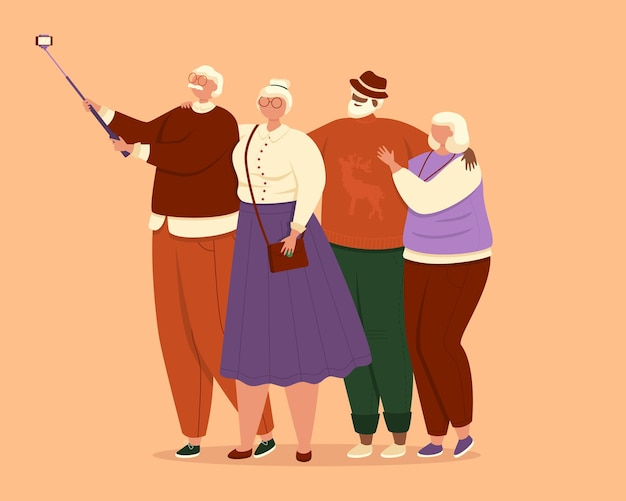 明るいオレンジ色の背景に一緒に自撮りイラストを撮る高齢者のグループ