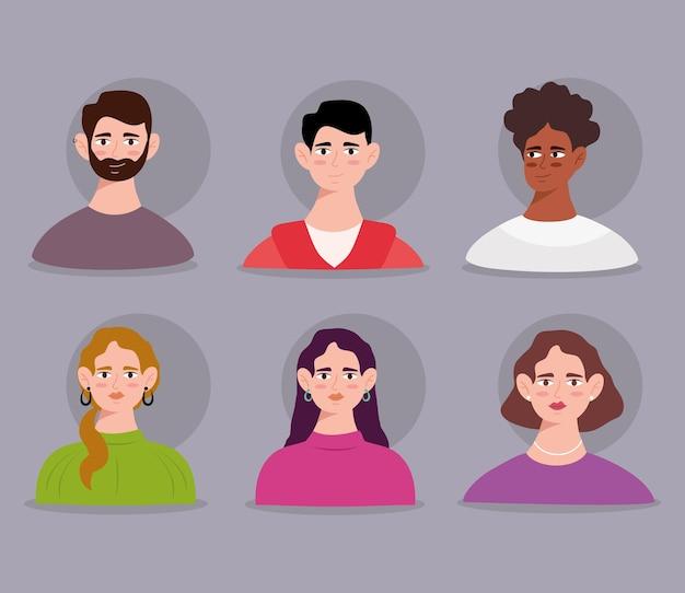 여섯 젊은 사람 아바타 캐릭터 그룹