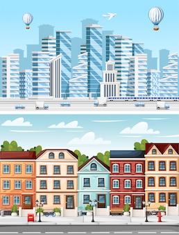 고층 빌딩의 그룹입니다. 주거 지역. 비즈니스 건물 컬렉션. 도시 요소. 하늘 배경에 그림입니다. 웹 사이트 페이지 및 모바일 앱 프리미엄 벡터