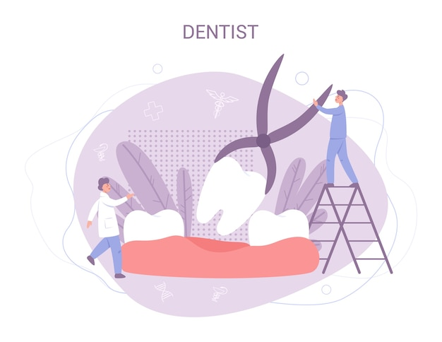 制服を着た小さな歯科医のグループが医療機器を使用して巨大な歯を治療します