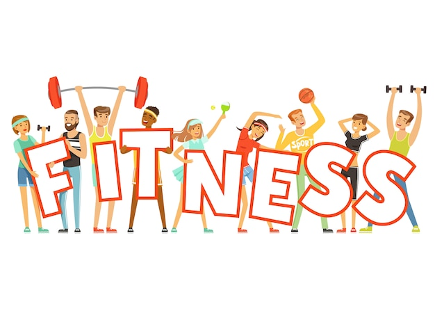 Группа улыбающихся людей в спортивной форме, держа слово фитнес мультфильм красочные иллюстрации