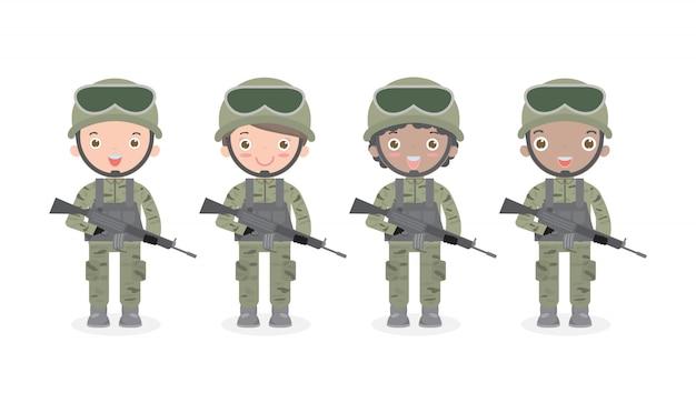 兵士のグループ。男と女。フラットな漫画のキャラクターデザイン分離米国陸軍分離イラスト。