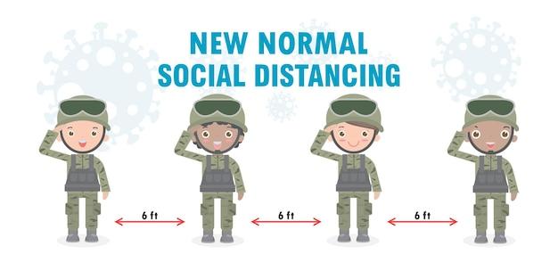 兵士のグループの男性と女性の新しい通常のライフスタイルの概念。フェイスマスクと社会的距離を身に着けている米軍兵士はコロナウイルスcovid19、背景イラストで分離された漫画を保護します
