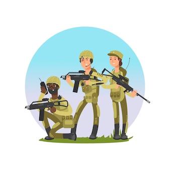 兵士のベクトル図のグループ。軍の男性と女性の漫画のキャラクター
