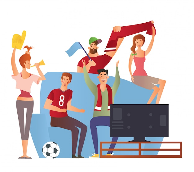 ソファの上のテレビの前でチームを応援するサッカーの属性を持つスポーツファンのグループ。白い背景のイラスト。漫画のキャラクターの画像。