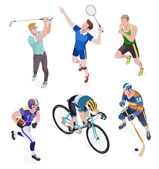 흰색 절연 스포츠 사람들의 그룹