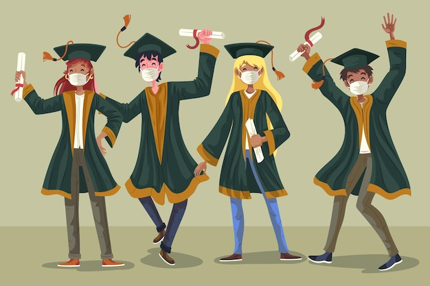 Группа студентов, празднование их окончания иллюстрируется