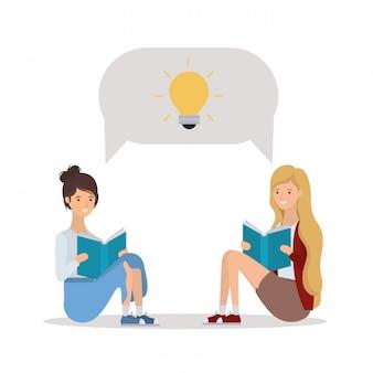 本を読む学生の女の子のグループ
