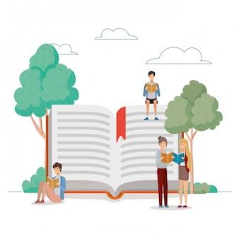 公園で本を読む学生のグループ