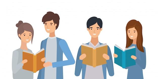 本を読む学生のグループ