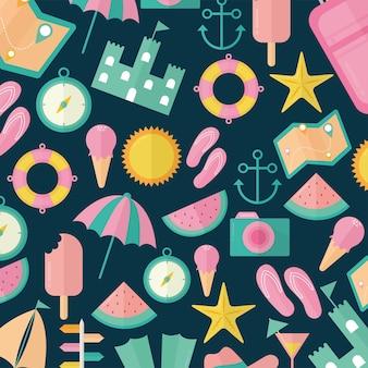 진한 파란색 일러스트 디자인에 여름 아이콘 그룹