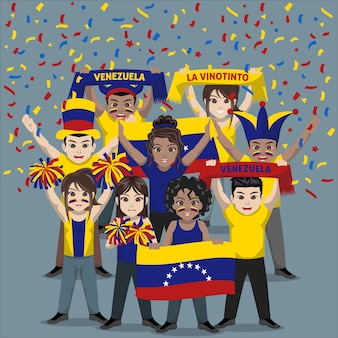 Группа болельщиков из сборной венесуэлы по футболу