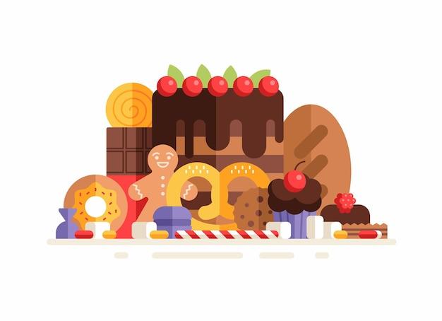 Группа сладостей, выпечки и кондитерских изделий. плоский рисунок