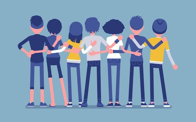 10代の友人のグループの背面図