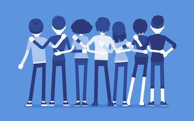 Группа друзей-подростков вид сзади