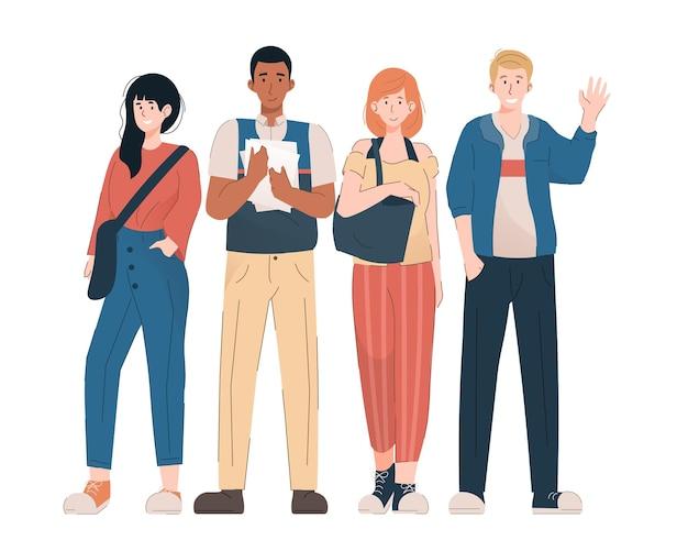 Группа студентов-подростков в повседневной одежде