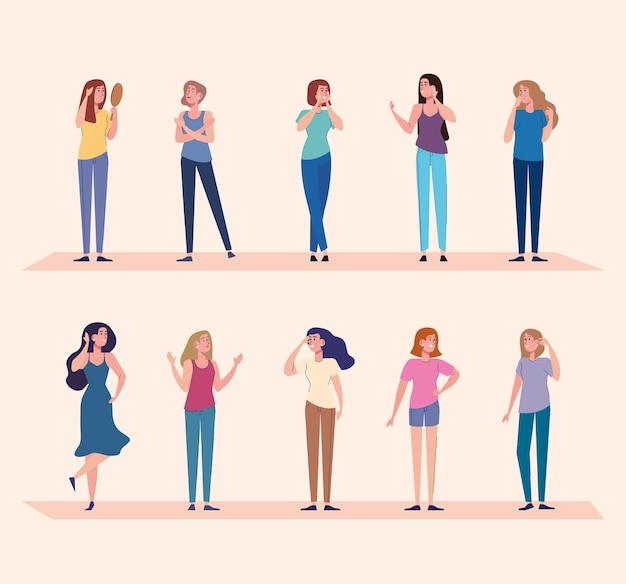10 명의 아름다운 소녀 캐릭터 일러스트 디자인 그룹