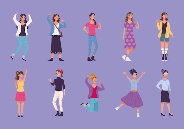 10 명의 아름다운 젊은 여성 캐릭터 일러스트의 그룹