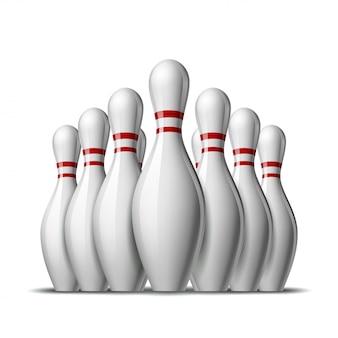10個のボウリングピンのグループ。スポーツの競争または活動と楽しいゲームのための赤い縞のスキットルズ。白い背景の上の図