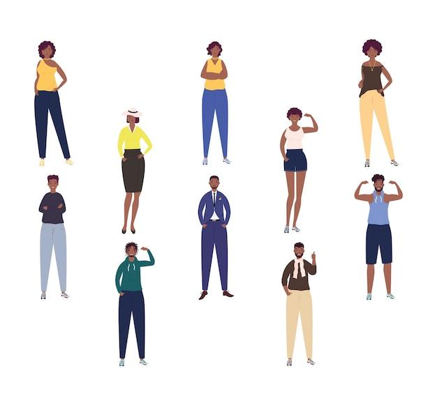 10人のアフロキャラクターイラストのグループ