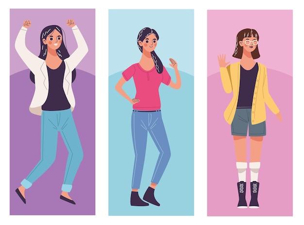 세 아름 다운 젊은 여성 캐릭터 그림의 그룹