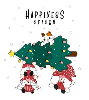 松のクリスマスツリーと猫の幸せの季節のメリークリスマスを運ぶ3つのノームのグループ