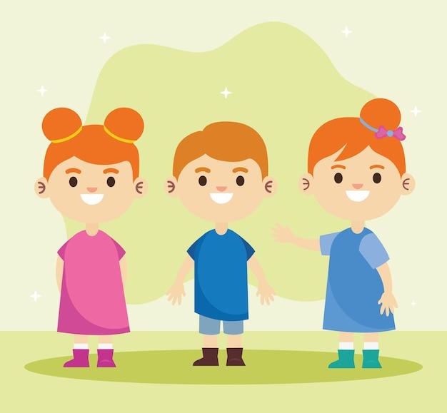 3つの幸せな小さな子供たちのキャラクターのイラストのグループ