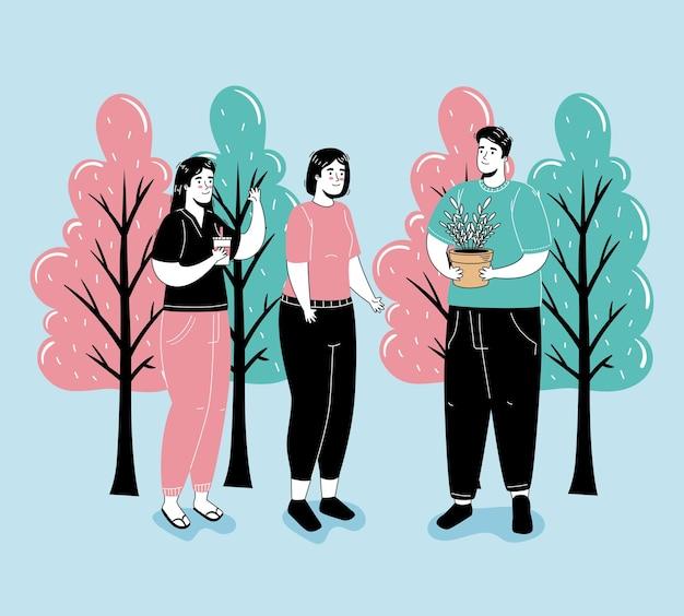 森のキャラクターで活動する3人のグループ