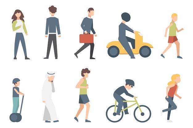 街の通りで自転車に乗る小さな人々のグループ。分離された男性と女性の漫画のキャラクターのイラスト。