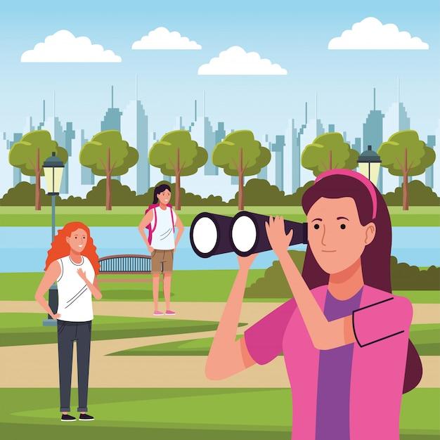 キャンプの図で活動をしている観光客の女の子のグループ