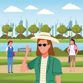 キャンプで活動をしている観光客の女の子のグループ