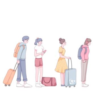 Группа туристов с багажом и рюкзаком, стоящих в очереди.