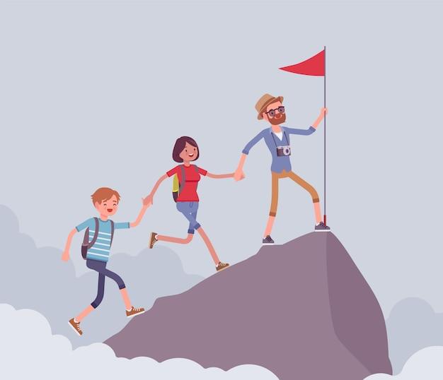山の頂上を征服する観光客のグループ。最高の、最高のポイントに到達するという目標を達成する友人をハイキングして、極端な夏の活動である赤い旗を掲げます。スタイル漫画イラスト