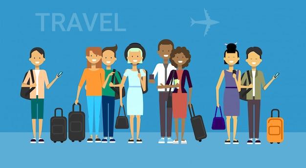 バッグ旅行と観光客のグループ