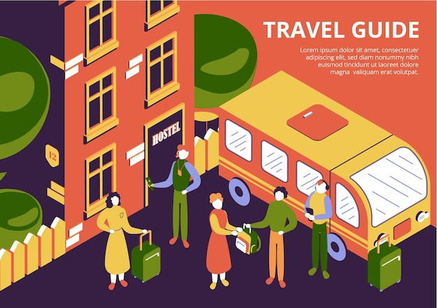 荷物と旅行ガイドを持つ観光客のグループがホステルの 3 d アイソメ図に到着