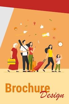 空港に立っているスーツケースとバッグを持つ観光客のグループ。家族、荷物を持って旅行する老夫婦。旅行、旅、旅行、休暇の概念のベクトル図