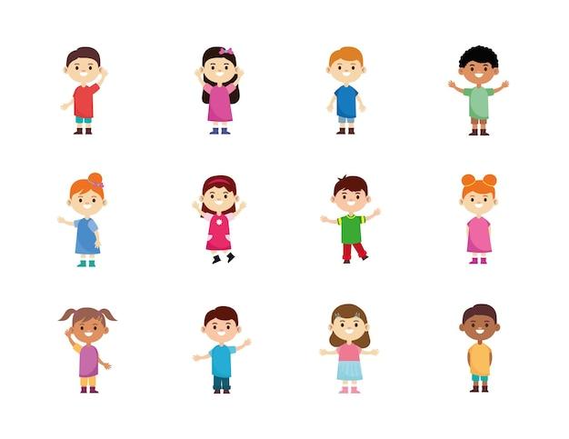 12人の幸せな異人種間の小さな子供たちのキャラクターのイラストのグループ