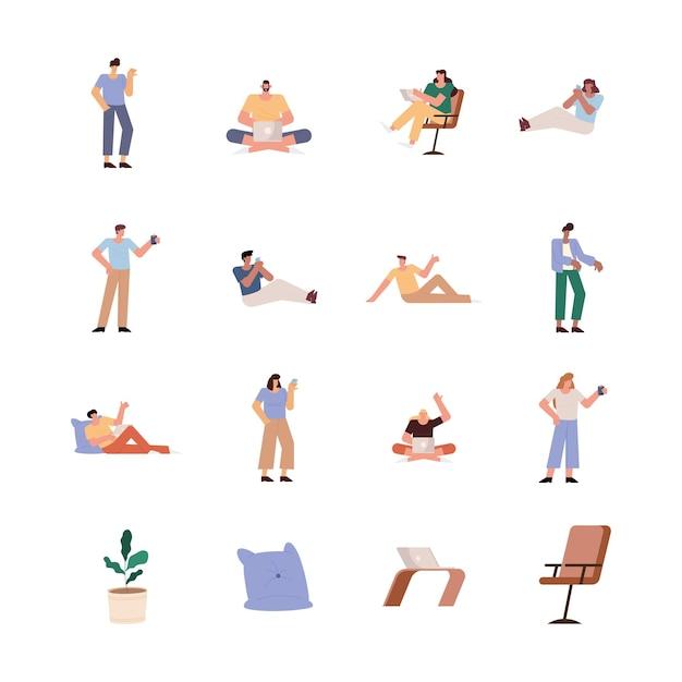 Группа из двенадцати человек, работающих персонажей иллюстрации дизайн