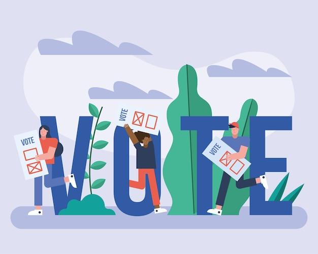 投票カードと手紙選挙日のベクトルイラストデザインを持つ有権者のグループ