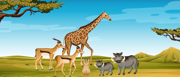 動物園のシーンで野生のアフリカの動物のグループ