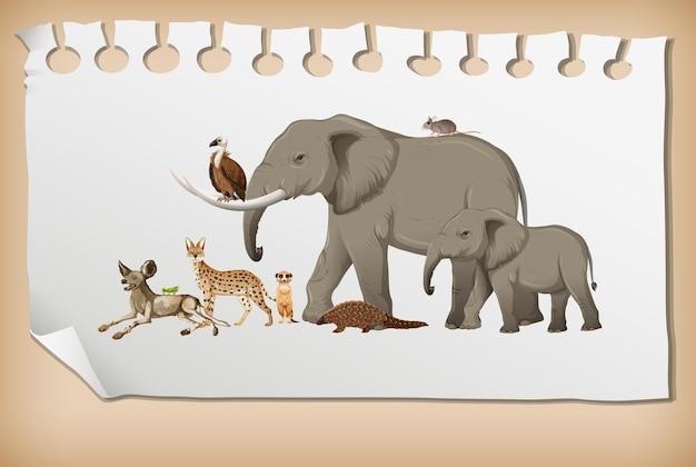 紙の上の野生のアフリカの動物のグループ