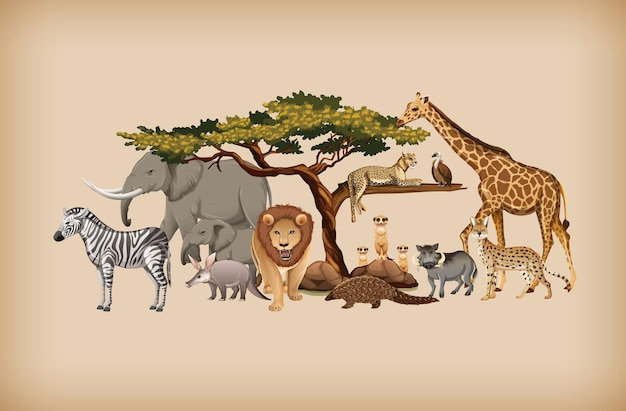背景の野生動物のグループ